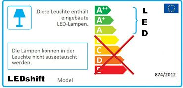 EU-Label: LEDs in der Leuchte nicht austauschbar